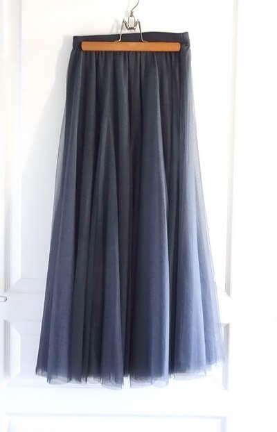 グレー ロングスカート チュール